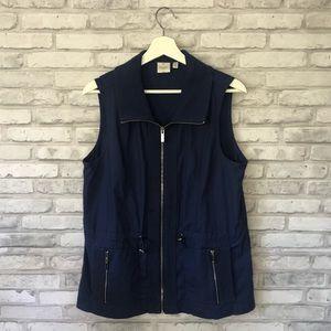 Rafaella Sport Navy Blue Zip Up Vest Size 12